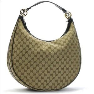GUCCI Monogram Large GG twins Hobo Beige/ebony Bag